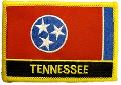 "[Single Count] Custom and Unique (2 1/2"" by 3 1/2"" Inches) Rectangle Patriotic Biker Patch Tennessee State Flag Text Iron On Embroidered Applique Patch {Red, Yellow, Blue & Black Colors} mySimple Products"
