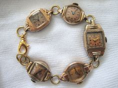 """I love anything """"Rose"""" - including this rose gold charm bracelet, made out of vintage watch faces."""