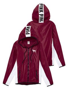 Victoria Secret Pink ANORAK full zip hooded maroon and white. Pink Outfits, Fall Outfits, Cute Outfits, Victoria Secret Outfits, Victoria Secret Pink, Love Pink Clothes, Pink Brand, Pink Jacket, Full Zip Hoodie