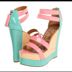 Matiko Echo Pastel Color Block Platform Wedges in mint, pink, and orange