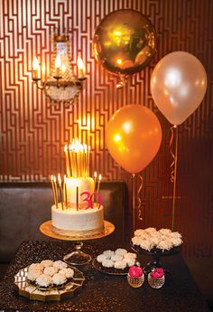 Black Sequin Linen- Designer Specialty Linen / Pink & Gold Bubbly 30th Birthday Party with Encore Event Design