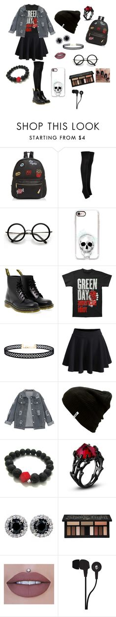 My kinda look!! by haileyb126 on Polyvore featuring WithChic, Forever 21, Dr. Martens, Ollie & B, LULUS, Casetify, Vans, ZeroUV, Skullcandy and Kat Von D