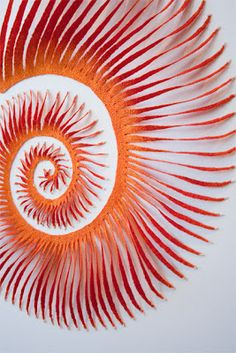 The Artwork of Meredith Woolnough: Sea Spiral Spirals In Nature, Textiles, Pin Art, Textile Artists, Abstract Sculpture, Embroidery Art, Paper Cutting, Fiber Art, Artwork