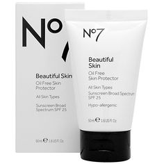 No7 Beautiful Skin Oil Free Skin Protector, This lightweight, oil free formula protects your skin from the sun every day.  SPF 25.