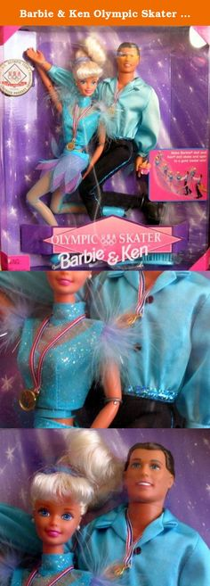 """Barbie & Ken Olympic Skater (1997). Olympic USA Skater Barbie & Ken Dolls is a 1997 Mattel production. Model #18726. This Set was an Official Licensed Product that was released for the Negano Olympic Games. Barbie Doll & Ken Doll are both poseable & you can help them Skate & Spin for a Gold Medal. CONTENTS: BARBIE DOLL is approx. 11.5"""" tall with blond hair & blue eyes. Barbie wears white Button Earrings, a glittery blue Top with feathery trim at shoulders, a glittery blue & pink petal cut..."""