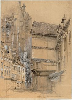 Architectural Drawing Ideas John Ruskin (British, Abbeville 1852 Ink and wash and pencil heightened with white on buff coloured paper - (c) Trustees of the Cecil Higgins Art Gallery 2010 Art Sketches, Art Drawings, Art Et Architecture, Architecture Portfolio, John Ruskin, Pre Raphaelite, Urban Sketching, Urban Landscape, Concept Art