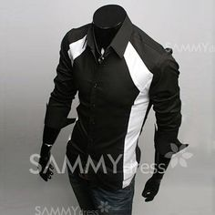$15.94 Sophisticated Long Sleeves Split Joint Black and White Cotton Shirt For Men