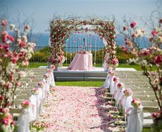 Trellis with branches, pink flowers aisle runner