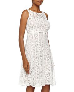 White Sleeveless Floral Lace & Bow Flare Dress, Ivory by Taylor @ Neiman Marcus Last Call $80