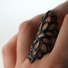 Double Lotus Ring  Oxidized Sterling Silver by anatomi on Etsy, $98.00