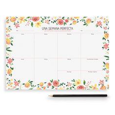 """Planning hebdomadaire """"Une semaine parfaite / fleurs"""" - Charucashop."""