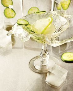 The Cucumber Splash Cocktail: Gin, cucumber, fresh lime juice, Ginger Beer, Club Soda.  Sounds delicious!