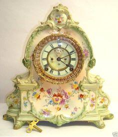 "Royal Bonn Ansonia ""La Manche"" antique Porcelain clock, made about the turn of the century...c.1900."