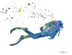 Scuba Diver Art Print - Abstract Watercolor Painting - Wall Decor