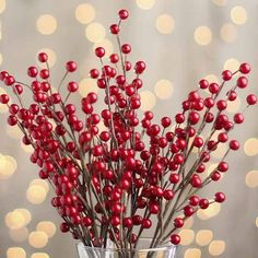 for Indoor Decor 12 Sprays Factory Direct Craft Artificial Dense Foam Metallic Red and Gold Glitter Berry Sprays