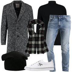 Cappotto classico in fantasia melange, maglione nero con collo alto, jeans slim fit con vita normale, sneakers basse stringate, berretto avvolgente, sciarpa con fantasia a quadri. Il look è adatto per tutti i giorni e per le uscite serali.