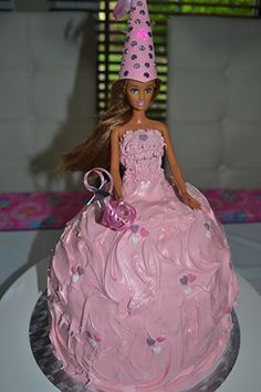 Using a barbie or doll to make a birthday cake