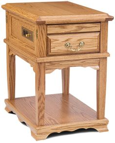 Great American Living Collection Oak End Table With Base. The End Table Has A  Power Outlet