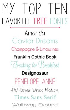 Top Favorite Free Fonts: Amanda, Caviar Dreams, Champagne & Limousines, Frosting for Breakfast, Penelope Anne, Designosaur, Franklin Gothic Book + More....maybe I can use some of these on the blog.