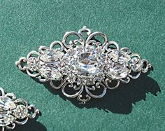 Wedding Shoe Clips, Bridal  Accessories, Victorian Style, Silver, Crystal, Rhinestone on Etsy, $32.50