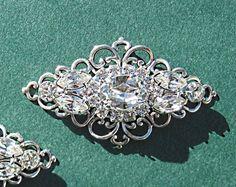 Wedding Shoe Clips, Bridal  Accessories, Victorian Style, Silver, Crystal, Rhinestone via Etsy