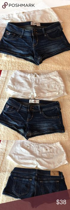 Hollister Shorts bundle two pairs Two Hollister shorts, both size 3.  One is blue and the other pair is white with drawstrings. Both have pockets front & back. Good condition. No trades. Hollister Shorts