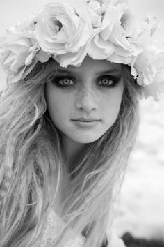 floral garland, crown, fashion, photography, black and white