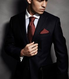 Great look for fall: Midnight blue suit paired with white shirt and chestnut brown colored pin dot tie and matching pocket square