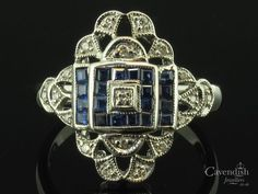 Intricate-White-Gold,-Sapphire-&-Diamond-Fancy-Cluster-Ring