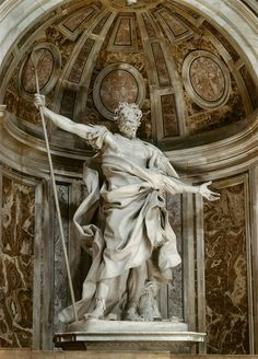 Gian Lorenzo Bernini, Saint Longinus, 1638, marble. Saint Longinus is part of the chiaroscuro exhibit because of his dramatic pose. The position he is standing in conjunction with the lifelike folds sculpted by Bernini create shadows to accentuate the sculpture as a whole.