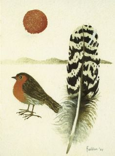 Christmas Greeting Card UK - Robin and Feather by Mary Fedden. Red Robin standing near a black and white feather. Christmas Greeting Cards, Christmas Greetings, Class Art Projects, Birds And The Bees, Royal College Of Art, Animals Images, Bird Art, Robin, Feather