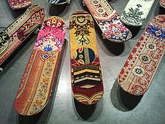 Mounir Fatmi, Maximum Sensation, 2010, 50 skateboards covered with frabic of praying carpets (detail)