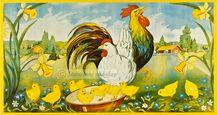 Påskbonad stor -  Hönsfamilj och påskliljor