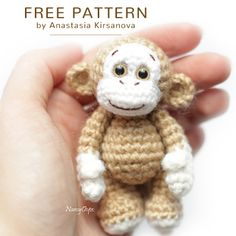A free crochet pattern of a little monkey. Do you also want to crochet this little monkey? Read more about the Free Crochet Pattern Little Monkey. A free crochet pattern of a little monkey. Do you also want to crochet this litt… Crochet Elephant Pattern, Crochet Amigurumi Free Patterns, Crochet Animal Patterns, Crochet Bear, Crochet Doll Pattern, Stuffed Animal Patterns, Cute Crochet, Crochet Animals, Crochet Crafts