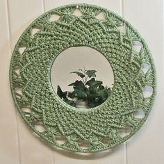 Macrame Mirror Wall Hanging Green 1970's by VintageShelfAndWall