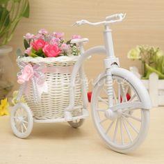Rattan Tricycle Bike Flower Basket Vase Storage Garden Wedding Party Decoration | eBay