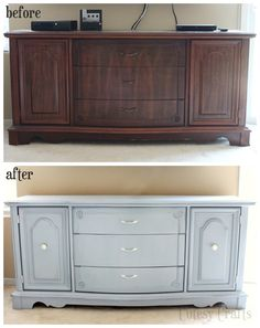 Transform an old buffet table into the perfect TV console with a little bit of paint! #chalkyfinish