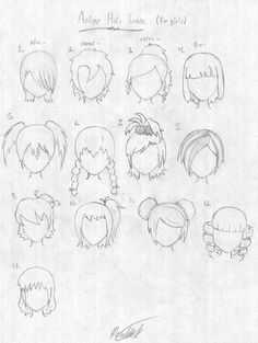 Anime Hair Index, some of these would be great for my children croquis Drawing Lessons, Drawing Techniques, Art Lessons, Manga Drawing, Manga Art, Manga Anime, Doodle Drawings, Cartoon Drawings, Stylo Art