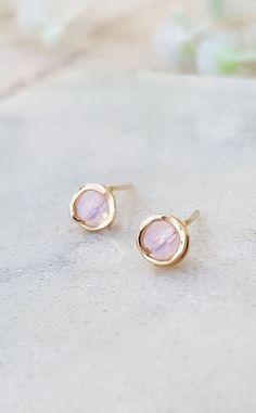 14k Gold Rose Quartz Studs,Rose Quartz Earrings,Pink Gemstone Studs,Gold Gemstone Studs,Light Pink Studs,Rose Quartz Gemstone,Minimalist