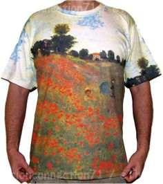 Poppies at Argenteuil Claude Monet Art Print Short Sleeve T Shirt Mens M L XL #PN #GraphicTee #Poppies #Monet #Art #Shirt