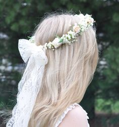 Bride Wreath, Bridal Floral Halo, Simple Ivory Babies breath and rose wreath for your Wedding Day, Bridal Hair Piece with Lace Bow by Hollysflowershoppe on Etsy https://www.etsy.com/listing/288586599/bride-wreath-bridal-floral-halo-simple