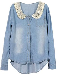 A darling add to a chambray... Crochet Collar Denim Shirt -- definite DIY potential
