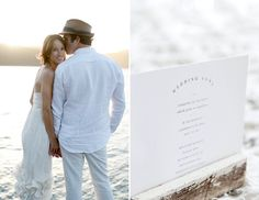 Bride Groom Mountains Lake Wedding Ceremony Programs Clean Simple