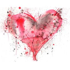 Emma-Plunkett-Art-Red-Love-Heart soul рисунки сердца, рисунки и акварель. Watercolor Splatter, Watercolor Heart, Easy Watercolor, Watercolor Cards, Abstract Watercolor, Watercolor Flowers, Inspiration Artistique, Red Love Heart, Watercolor Paintings For Beginners