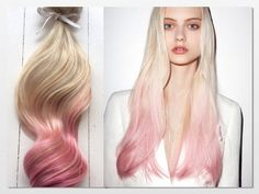 Pastel Ombre Hair Extensions, Platinum blonde and pastel pink dip dye hair, by NinasCreativeCouture, $250.00