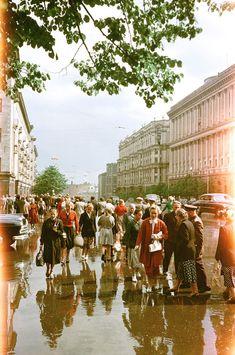 50-е. Улица Горького. После дождя. Блог - 63 уникальные фотографии СССР из архивов Денверского университета