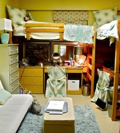 Add E To Your Dorm Room With Loft Beds That Desks Can Fit Underneath