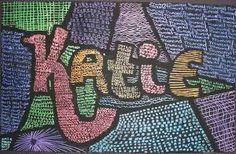 Name Design Art Lessons Name Art Projects, Art Club Projects, School Projects, School Ideas, Name Design Art, Summer Camp Art, 6th Grade Art, Jr Art, Font Art