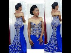 Elegant Long Evening Dress, Prom Mermaid Off Shoulder Gown with Gold Embroidery Floor Length African Women Blue Formal Prom Evening Gowns African Evening Dresses, African Wedding Dress, African Print Dresses, African Print Fashion, African Fashion Dresses, Evening Gowns, Evening Party, Ankara Fashion, Africa Fashion