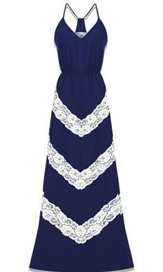 Judith March - Chevron Lace Maxi Dress - Luxe navy blue with white lace Pretty Outfits, Pretty Dresses, Beautiful Dresses, Cute Outfits, Gorgeous Dress, Looks Style, My Style, Mode Chic, Lace Maxi